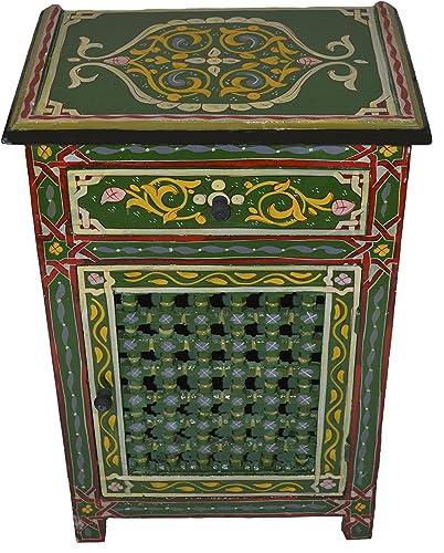Moroccan Dresser Night Stand Table Arabesque Wood Moorish Hand Painted Handmade