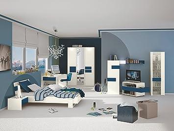Jugendzimmer Mit Bett 120 X 200 Cm Weiss Blau Amazon De Kuche