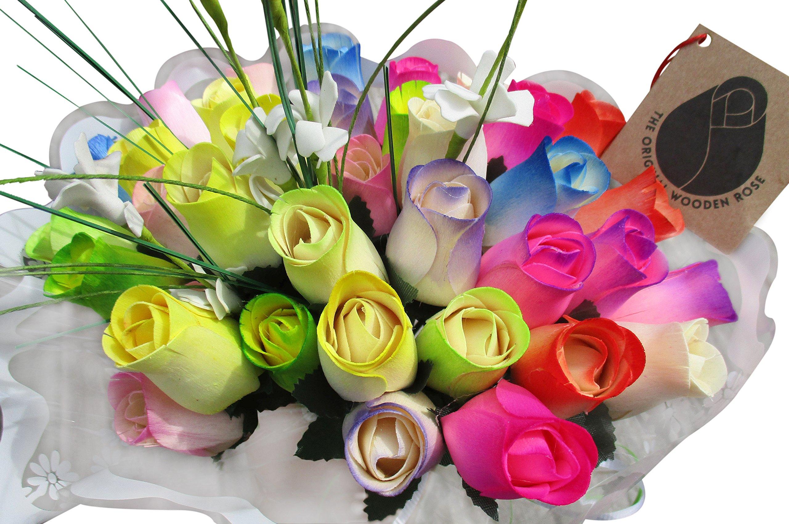 silk flower arrangements the original wooden rose spring easter flower bouquet closed bud (3 dozen)