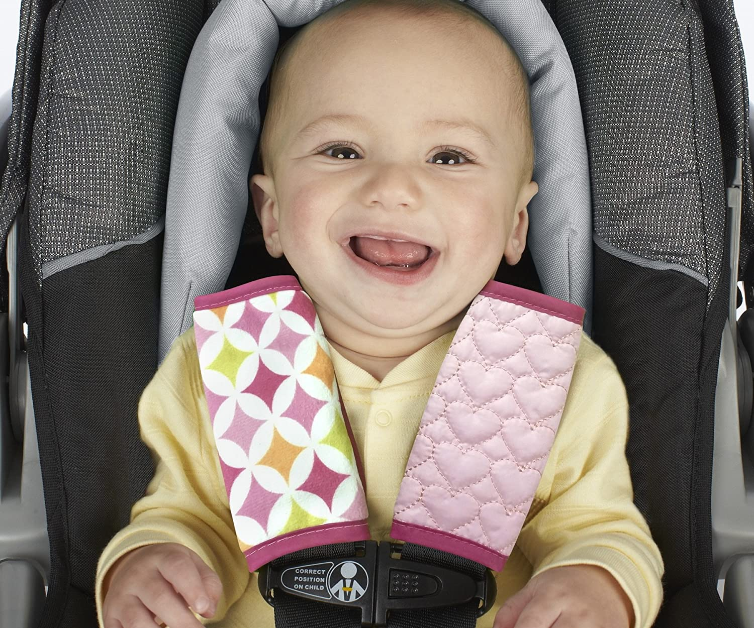 Nuby Car Seat Reversible Strap Covers 2 Pack Pink 120096