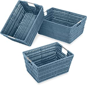 Whitmor Rattique Storage Baskets - Berry Blue - (3 Piece Set)
