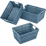 Whitmor Rattique Storage Baskets Set of 3 Berry Blue