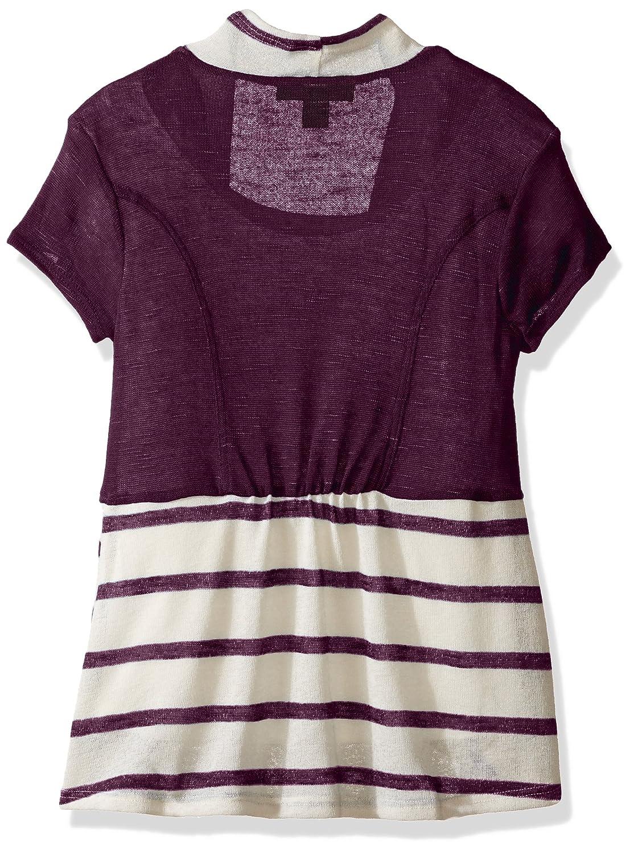 Amy Byer Girls Big 2fer Stripe Cozy with Necklace
