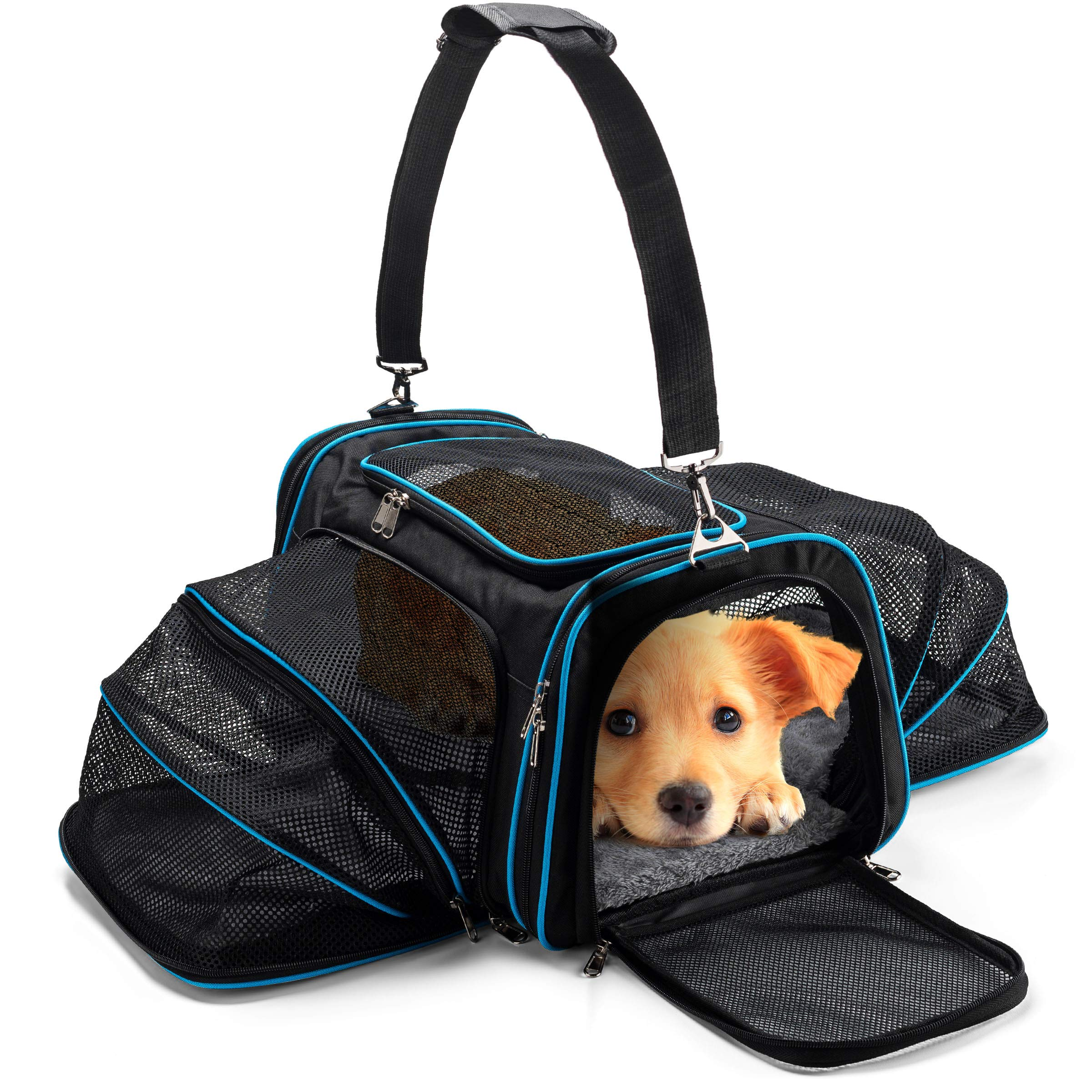 Airline Approved Pet Carrier Bag, Dual Expandable Travel Dog Carrier Bag for Small Dogs, Cats, Puppies, Kittens etc. Premium 600D Oxford Material, with Comfortable Plush Mat, Extra Strong Structure by Rau De Pet