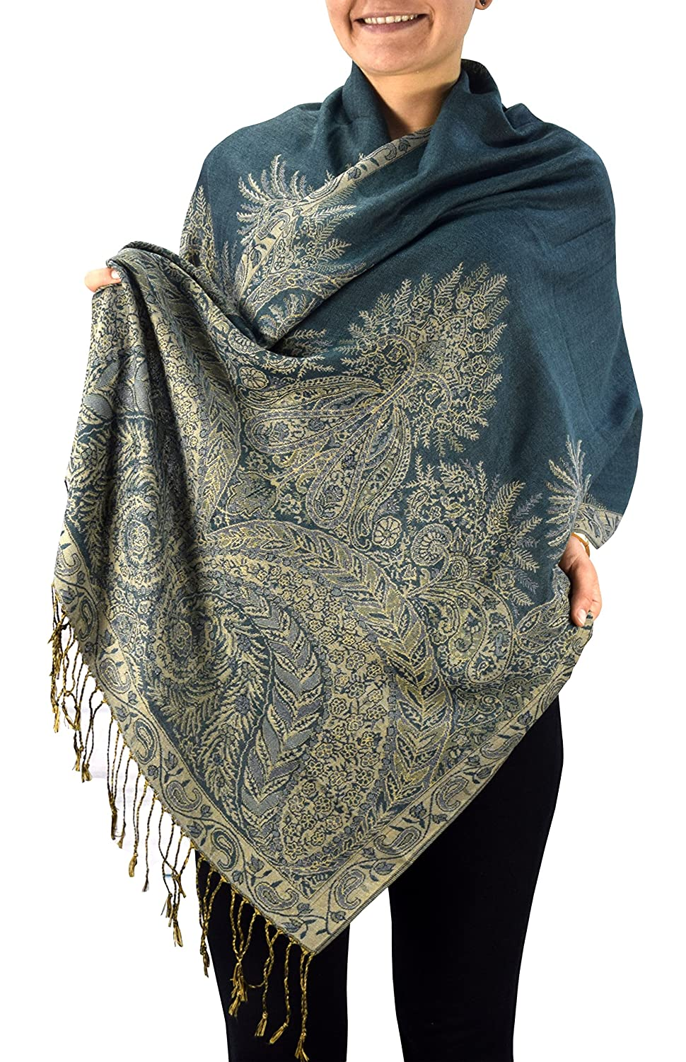 Peach Couture Soft Vintage Persian Paisley Printed Solid Pashmina Shawl Scarf (Hunter Green)