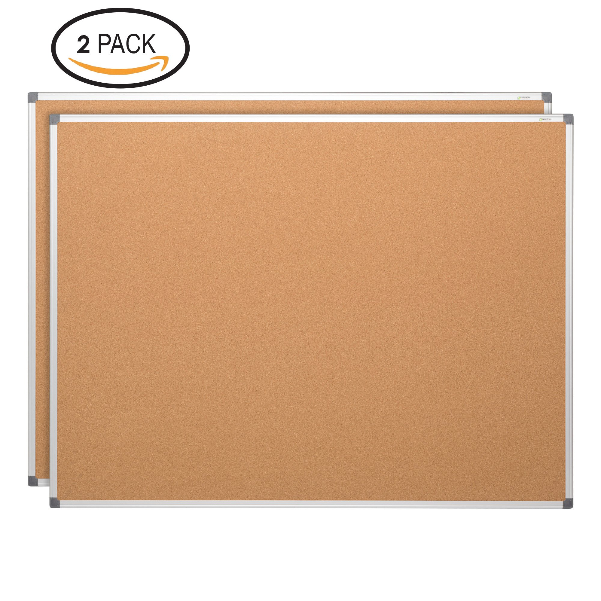 Learniture LNT-127-24362-SO Natural Cork Board w/Aluminum Frame, Brown (Pack of 2)