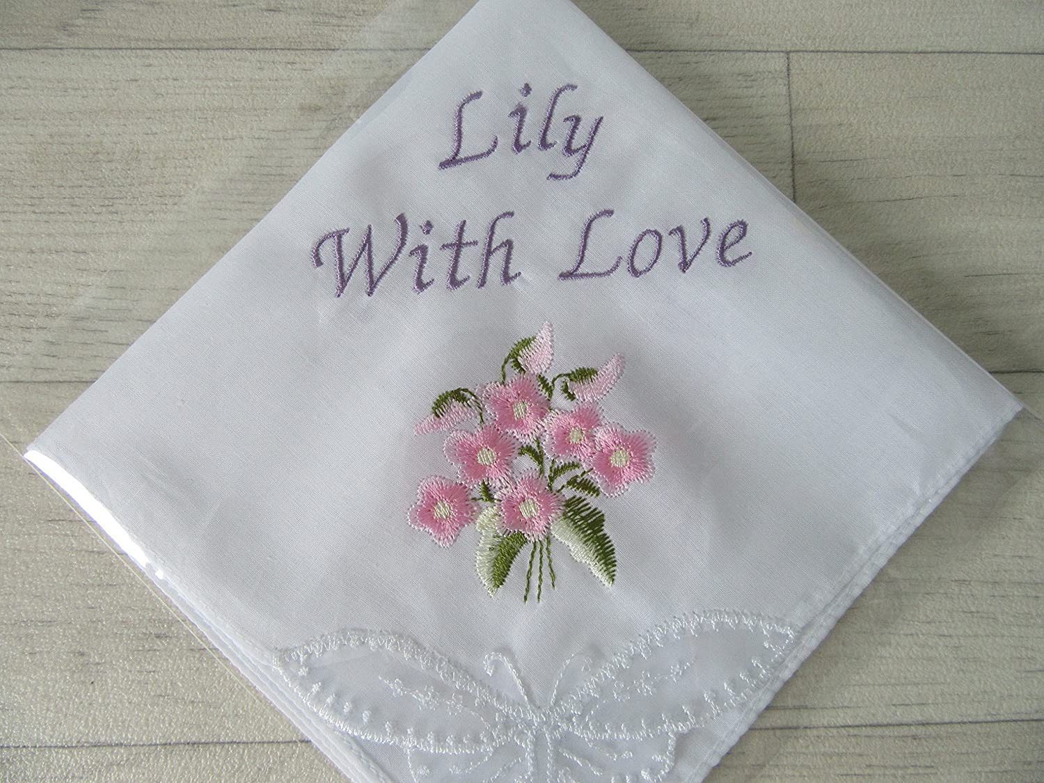 Personalised Embroidered Ladies Women's Handkerchief Gift