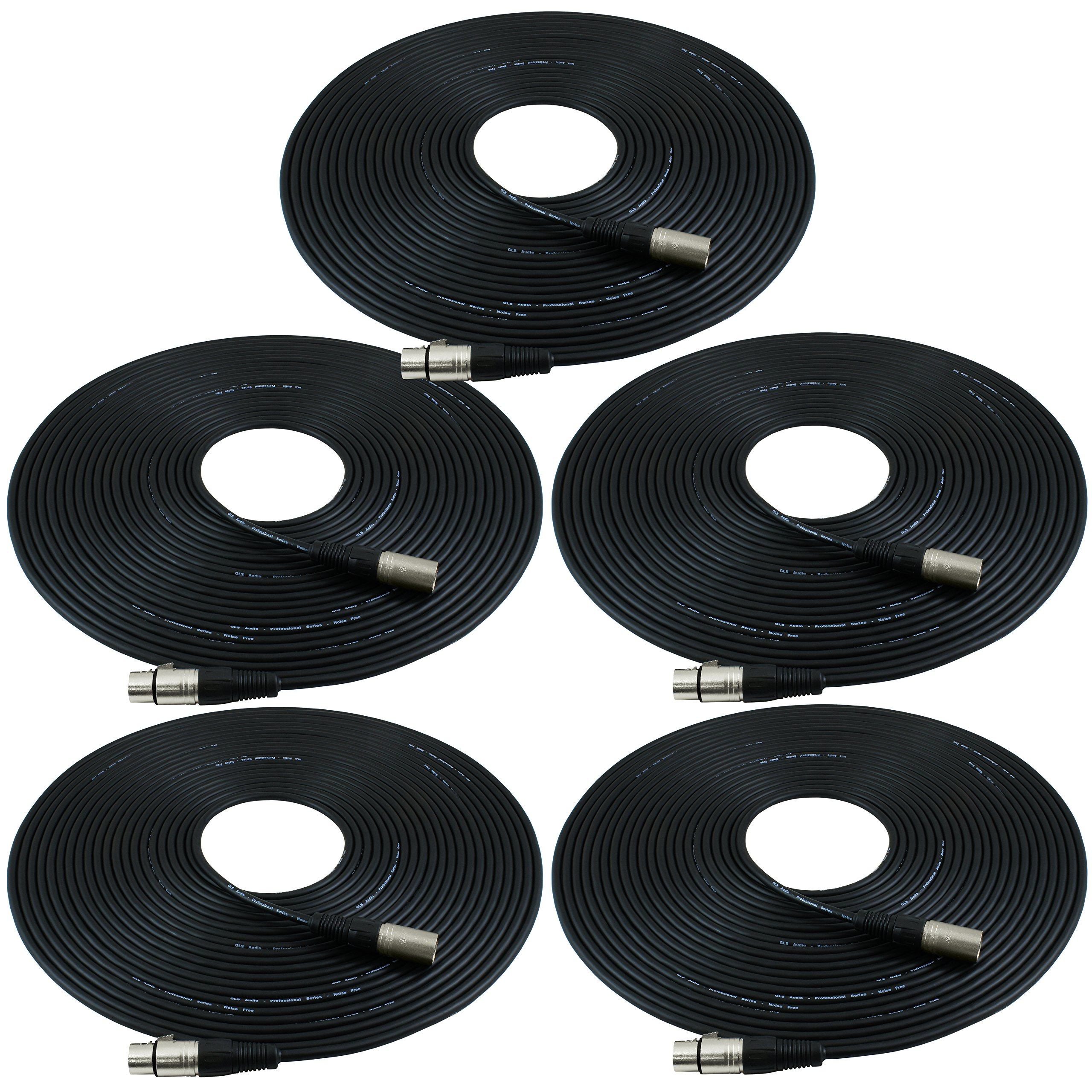 GLS Audio 50ft Mic Cable Patch Cords - XLR Male to XLR Female Black Microphone Cables - 50' Balanced Mike Snake Cord - 5 PACK