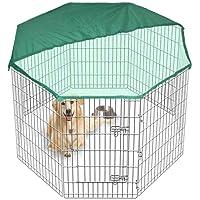 Gran Playpen Jaula de Jardín para perros y cachorros desplegable para interiores/exteriores y cubierta gratis en 2 tamaños.