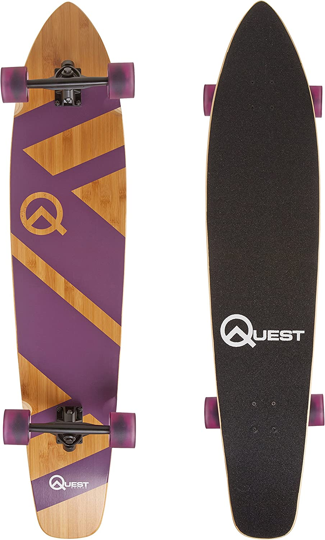 The Quest Super Cruiser Purple Artisan Bamboo and Maple 44 Longboard Skateboard