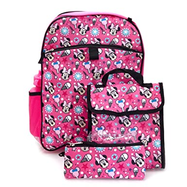 3010d7f075d Image Unavailable. Image not available for. Color  Minnie Mouse Backpack   Lunch  Bag 5-piece Set