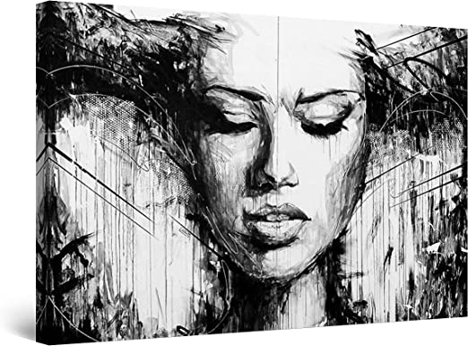 Abstract Black /& White Woman in Deep Thought Picture Art Large Framed Print