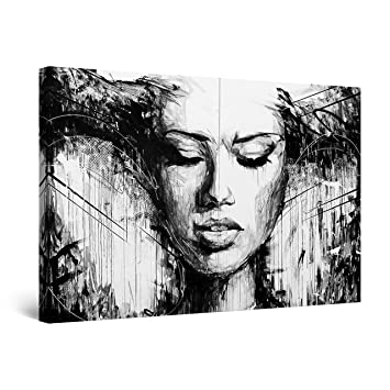Startonight Canvas Wall Art Black And White Abstract Woman Sensuality In Art Framed Wall Decor 24 X 36 Inches