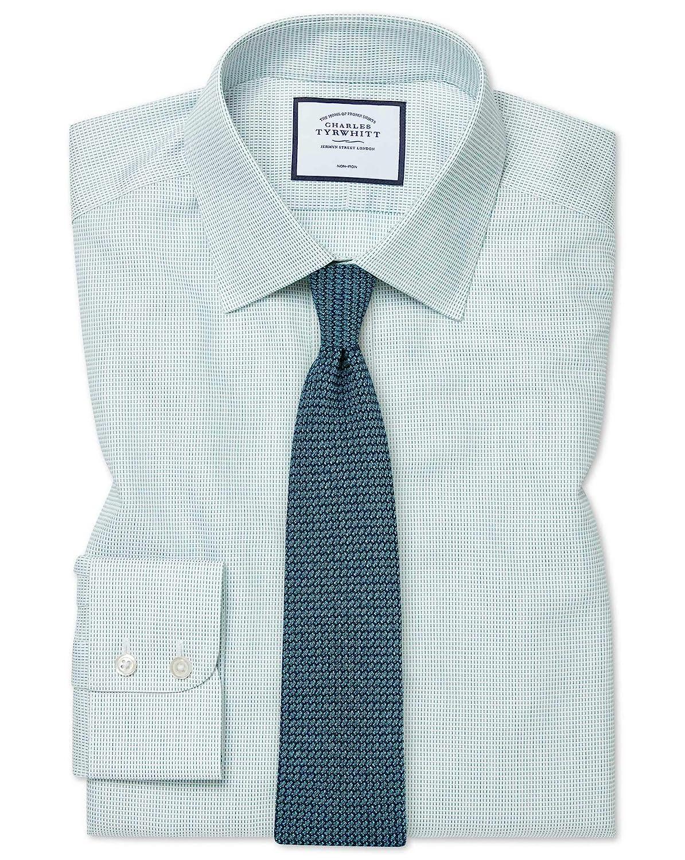 Chemise à Motif à Effet Tirets Verte Coupe Droite Sans Repassage   Vert (Poignet Simple)   17   34