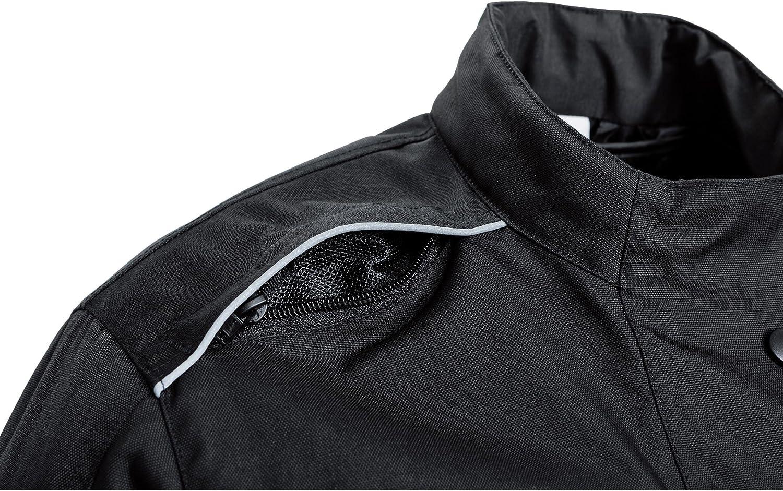 wasserdichte XS-XL DXR Motorradjacke atmungsaktive Klimamembran Verbindungsrei/ßverschluss Armweitenverstellung Motorrad Jacke Damen Tour Textiljacke herausnehmbares Thermosteppfutter Schwarz