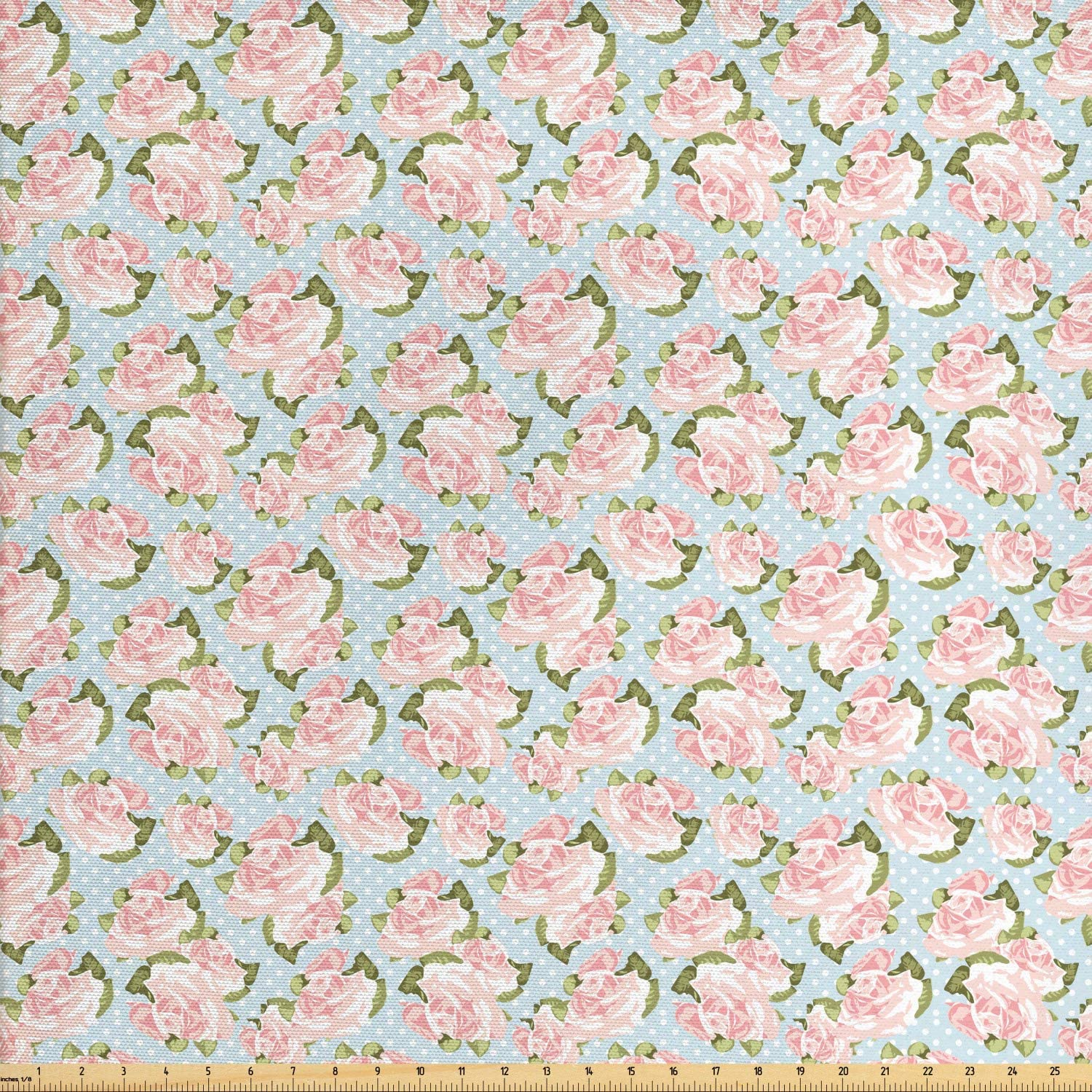 Ambesonne Shabby Flora Fabric by The Yard, English Gardening Plants Antique Victorian Fashion with Polka Dots, Decorative Fabric for Upholstery and Home Accents, 1 Yard, Pink Teal
