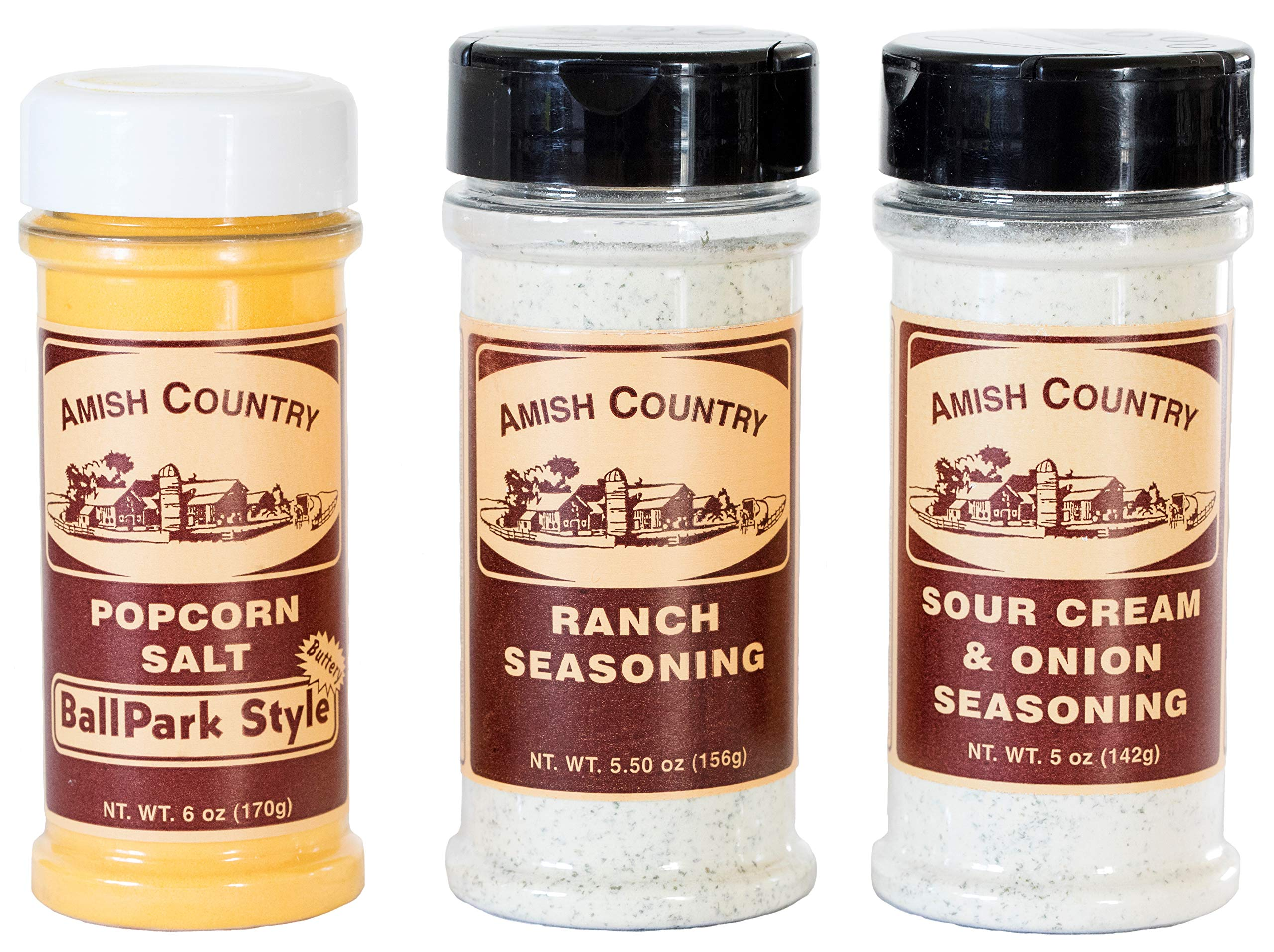 Amish Country Popcorn - Ballpark Style ButterSalt (6 Oz), Ranch (5.5 Oz) & Sour Cream (5 Oz) Popcorn Seasoning - Old Fashioned with Recipe Guide