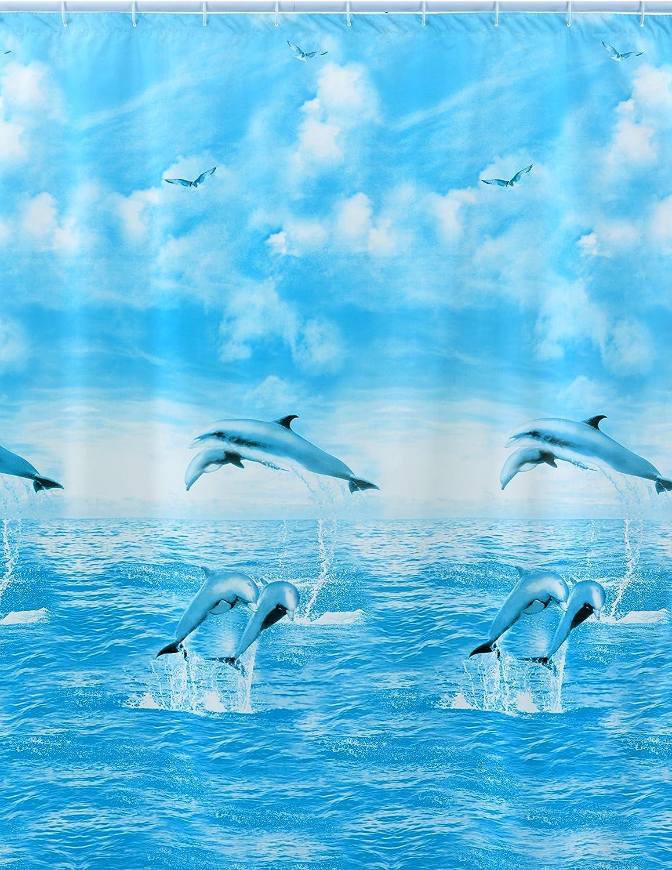 240 cm x Altezza 200 cm Multicolore Shark 010//351191 Tenda Doccia Vinile
