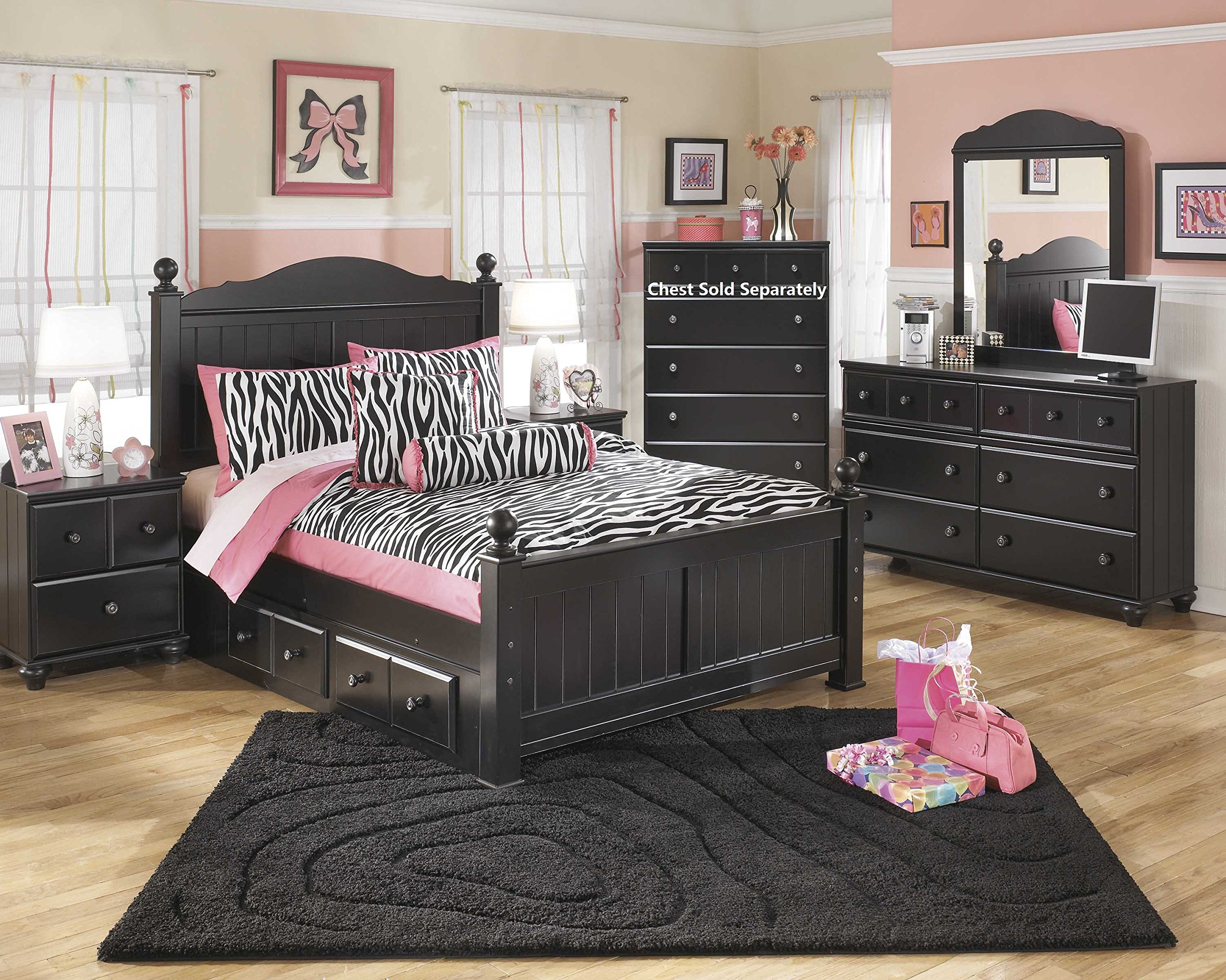 Jaidyn Youth Wood Poster Bed Room Set in Rich Black Finish, Full Bed, Dresser, Mirror, Nightstand