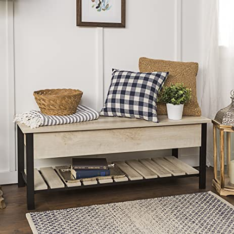 New 48 Inch Wide Open Top Storage Bench With Shoe Shelf   White Oak Color