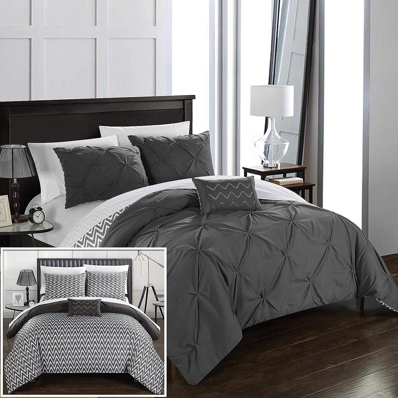 Chic Home Jacky 4 Piece Reversible Comforter Bedding Set, Full/Queen, Grey