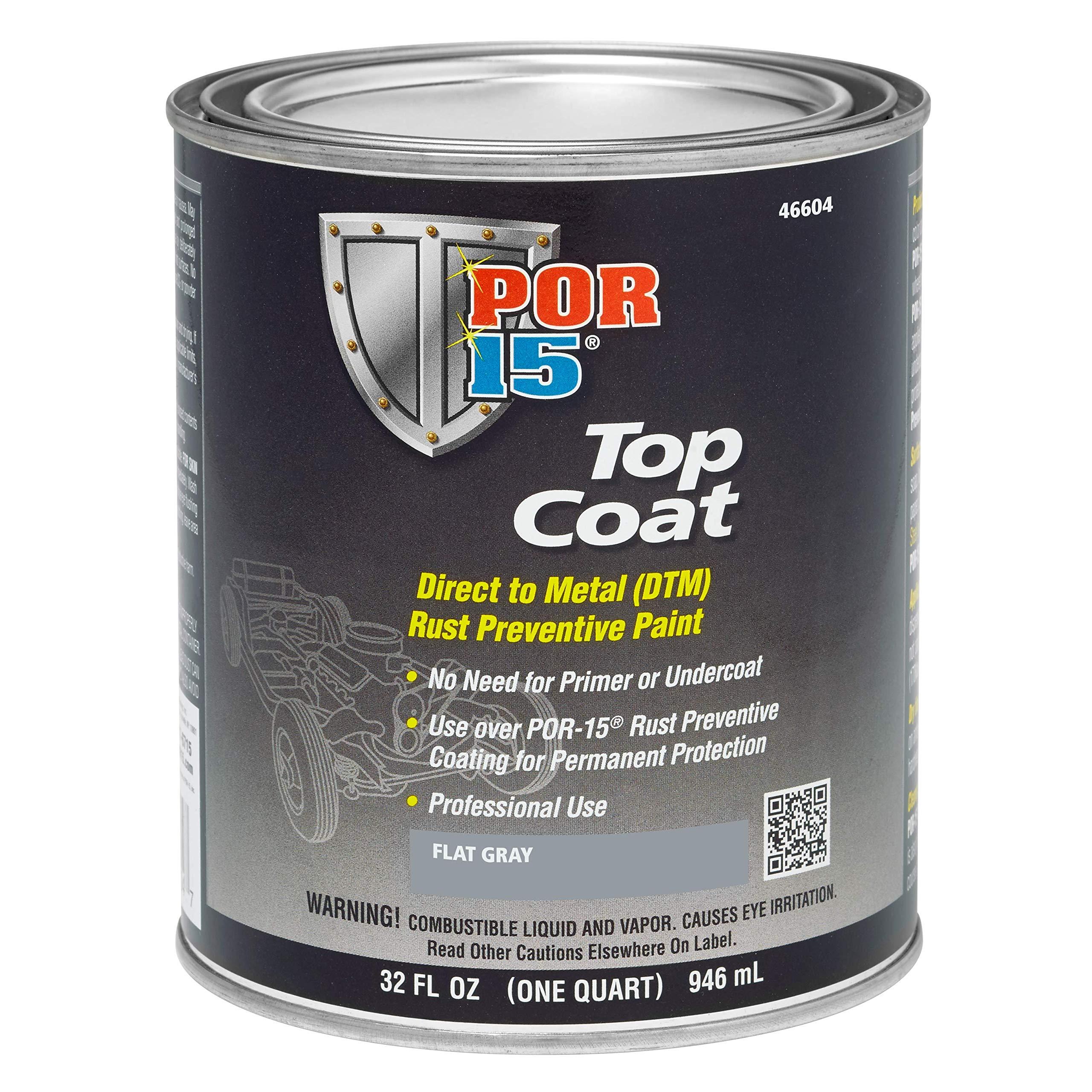 POR-15 46604 Top Coat Flat Gray Paint, 32. Fluid_Ounces
