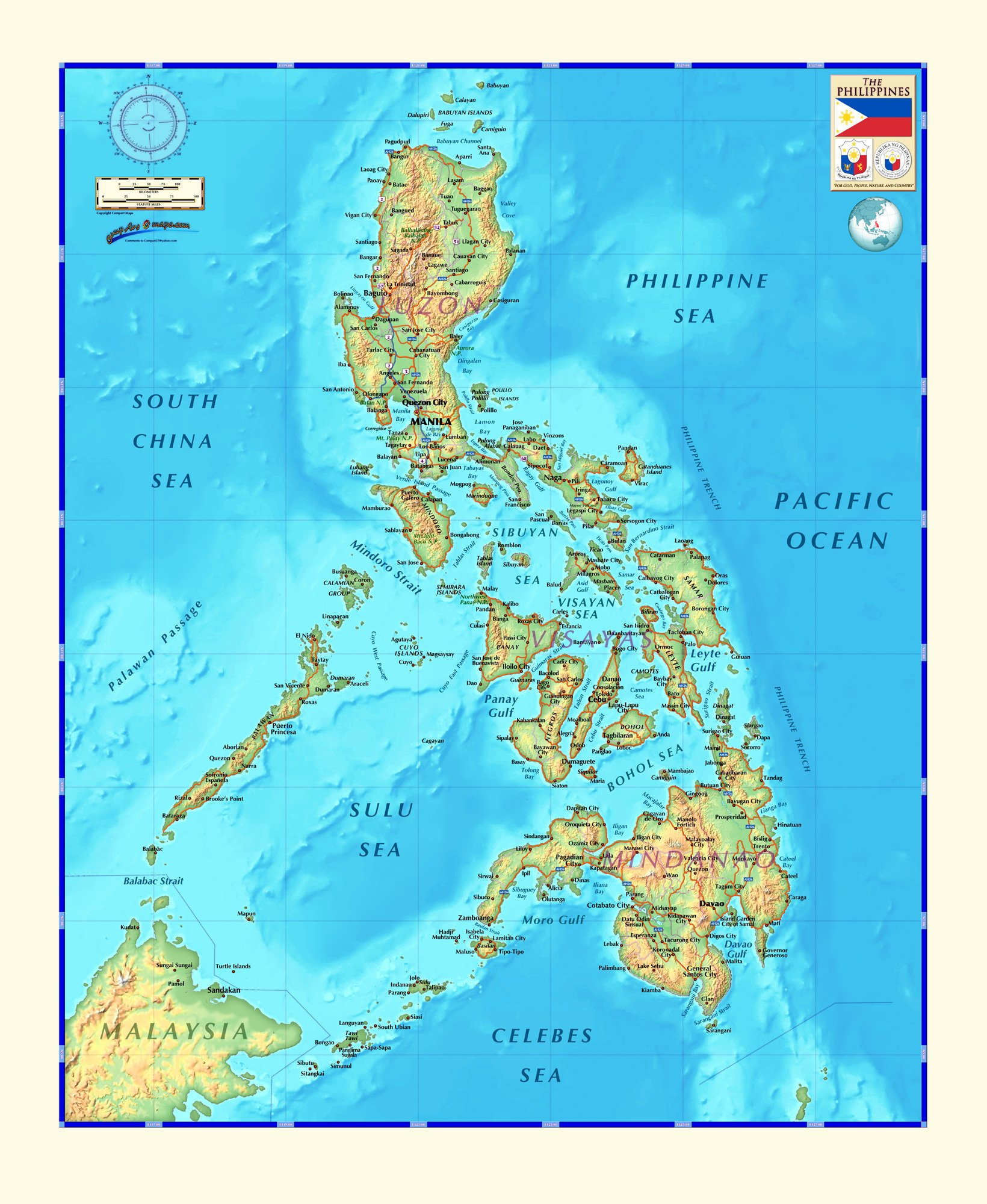 Decorative PHILIPPINES Physical Wall Map *Laminated* 36
