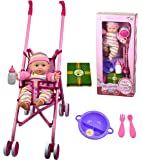 Baby Doll Girl Pink Stroller with Doll Feeding Milk Bottle Dolls Accessories Toy