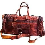 "20"" Mens Genuine Leather Duffel Gym Large Travel Weekend Sports Luggage Bag"