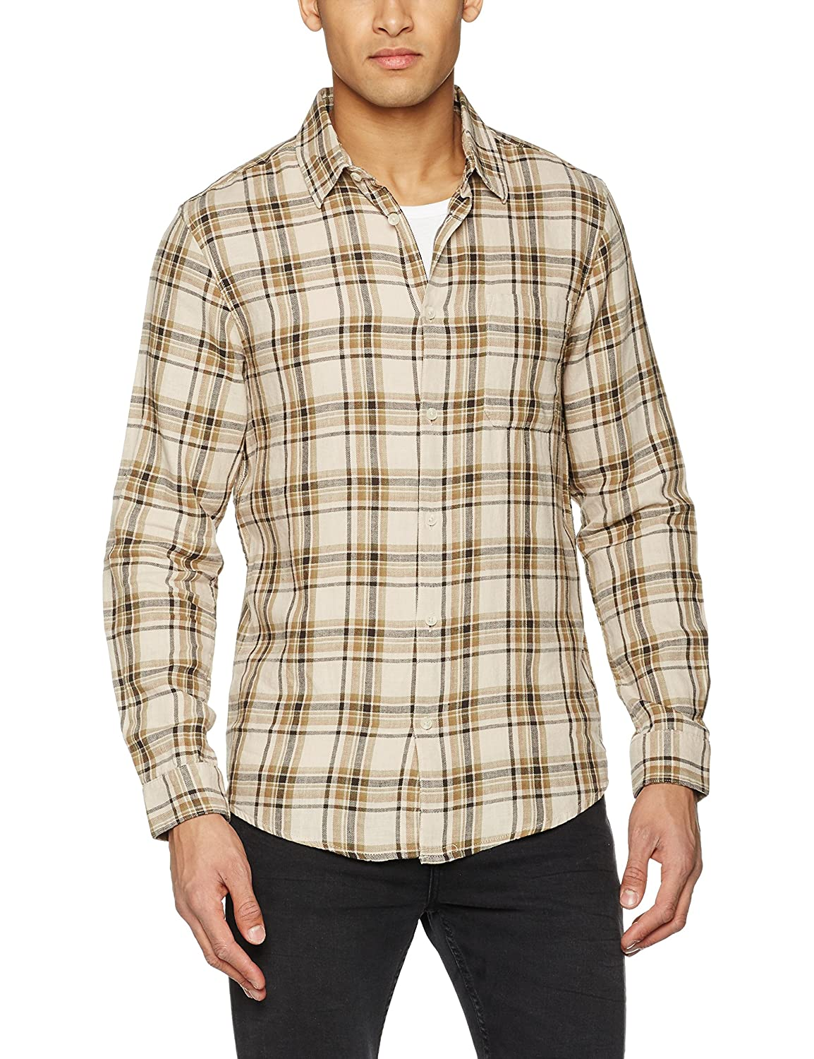 TALLA XS. New Look Prescident Neutral Check Camisa para Hombre