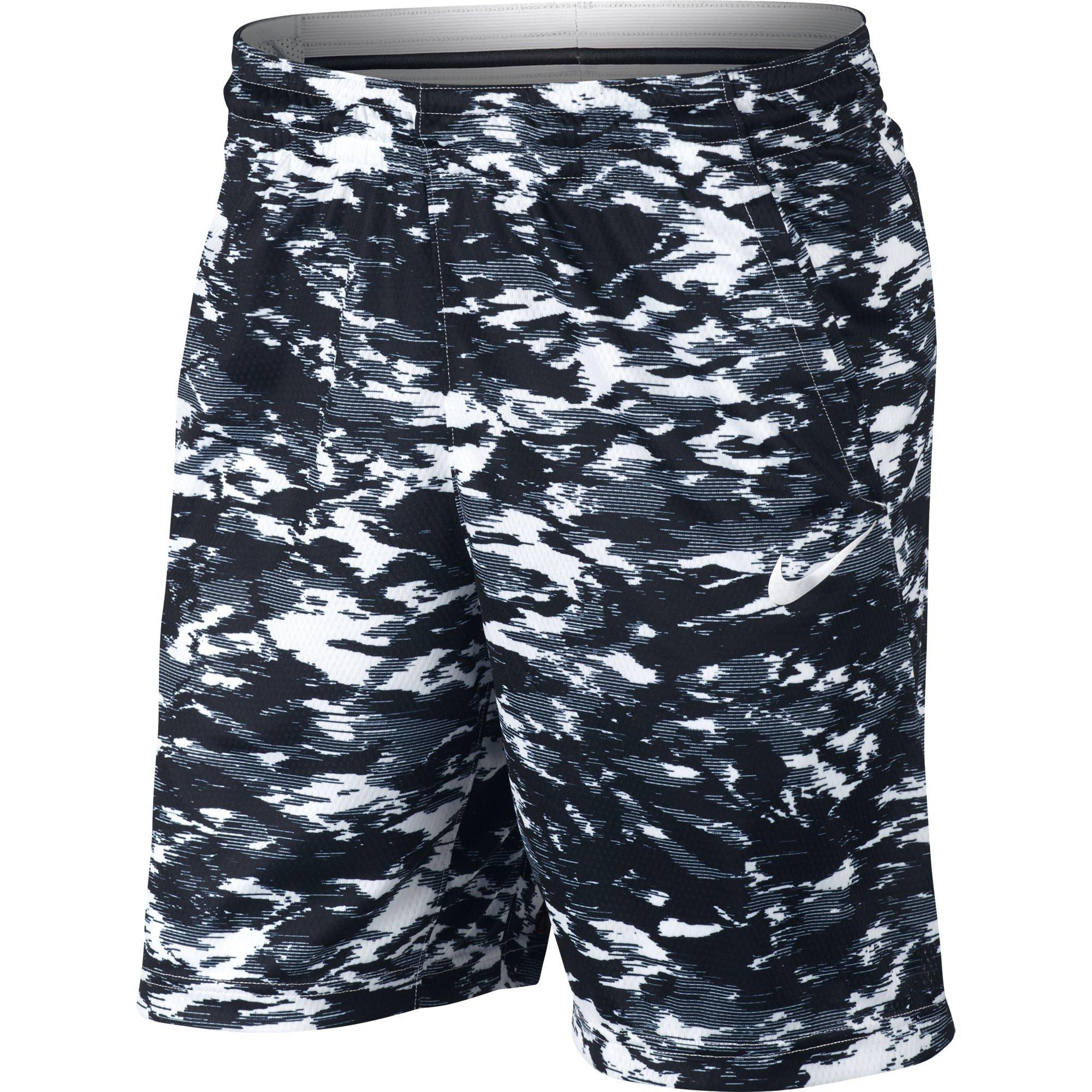 NIKE Men's Dry Print Attack Shorts, White/Black/White, Medium