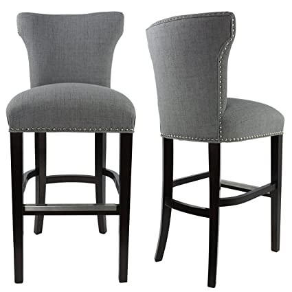 Sole Designs Bella Collection Modern Upholstered Bar Stool Chair With  Concave Back And Hand Applied Nail