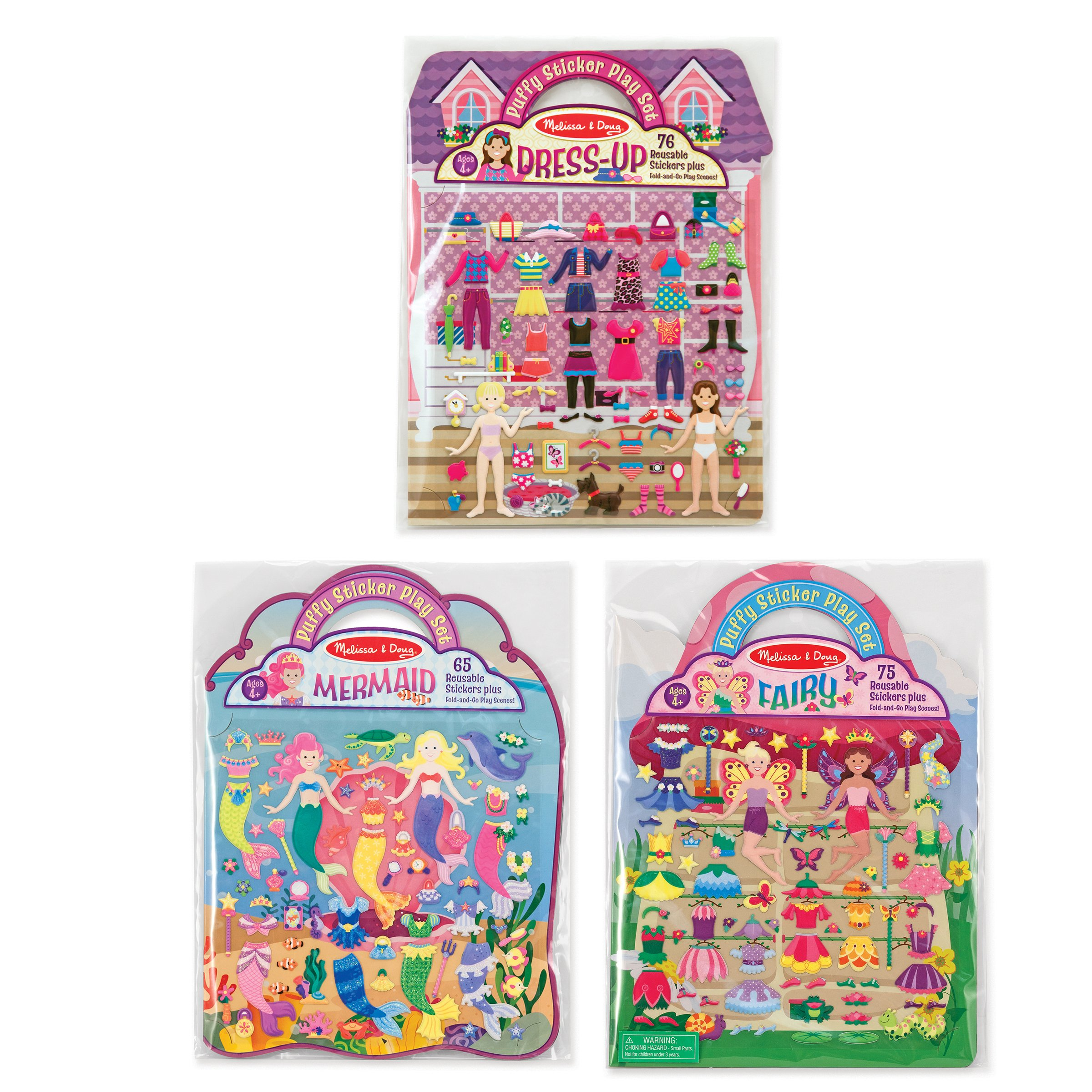 Melissa & Doug Puffy Sticker Pads Set: Fairy, Dress-Up, and Mermaid - 216 Reusable Stickers
