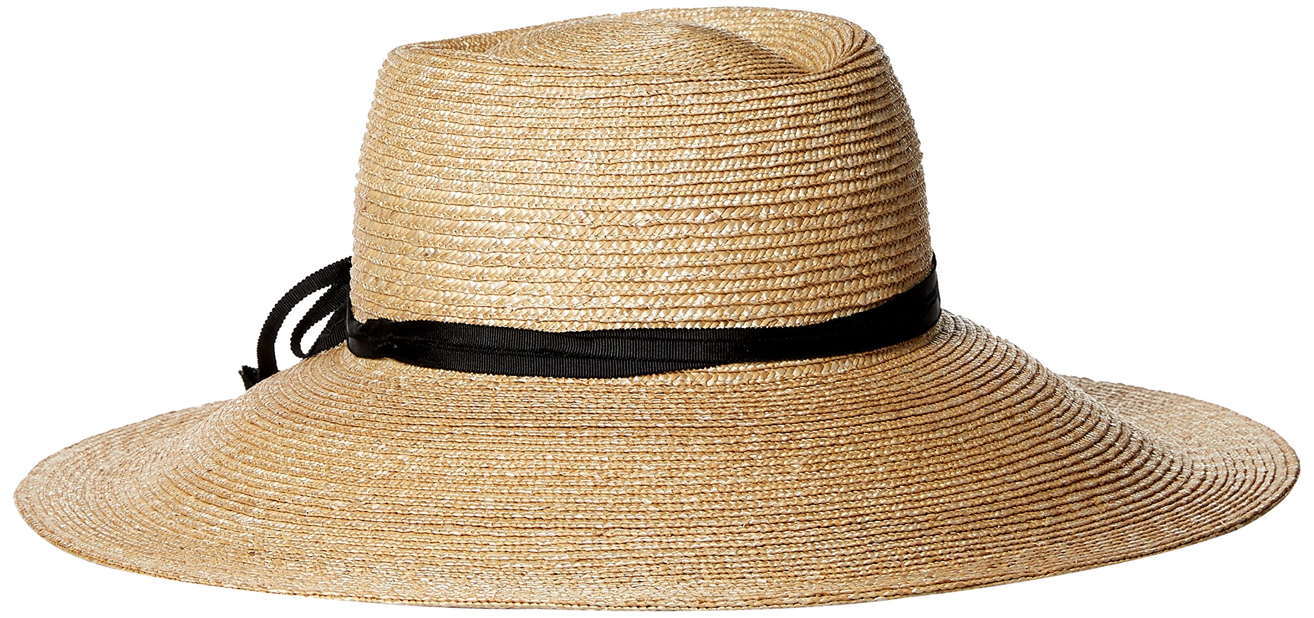 Gottex Women's Capri Fine Milan Sun Hat with Ribbon Trim, Rated UPF 50+ for Max Sun Protection, Natural/Black, Adjustable Head Size