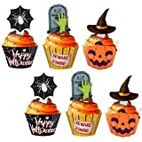 124PCS Halloween Cupcake Toppers Wrappers - Spider Web Pumpkin Zombie Hand Cake Party Decorations Supplies