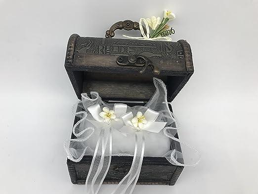 Cofre cojin anillos boda original lazo blanco 15x8x9 cm ...