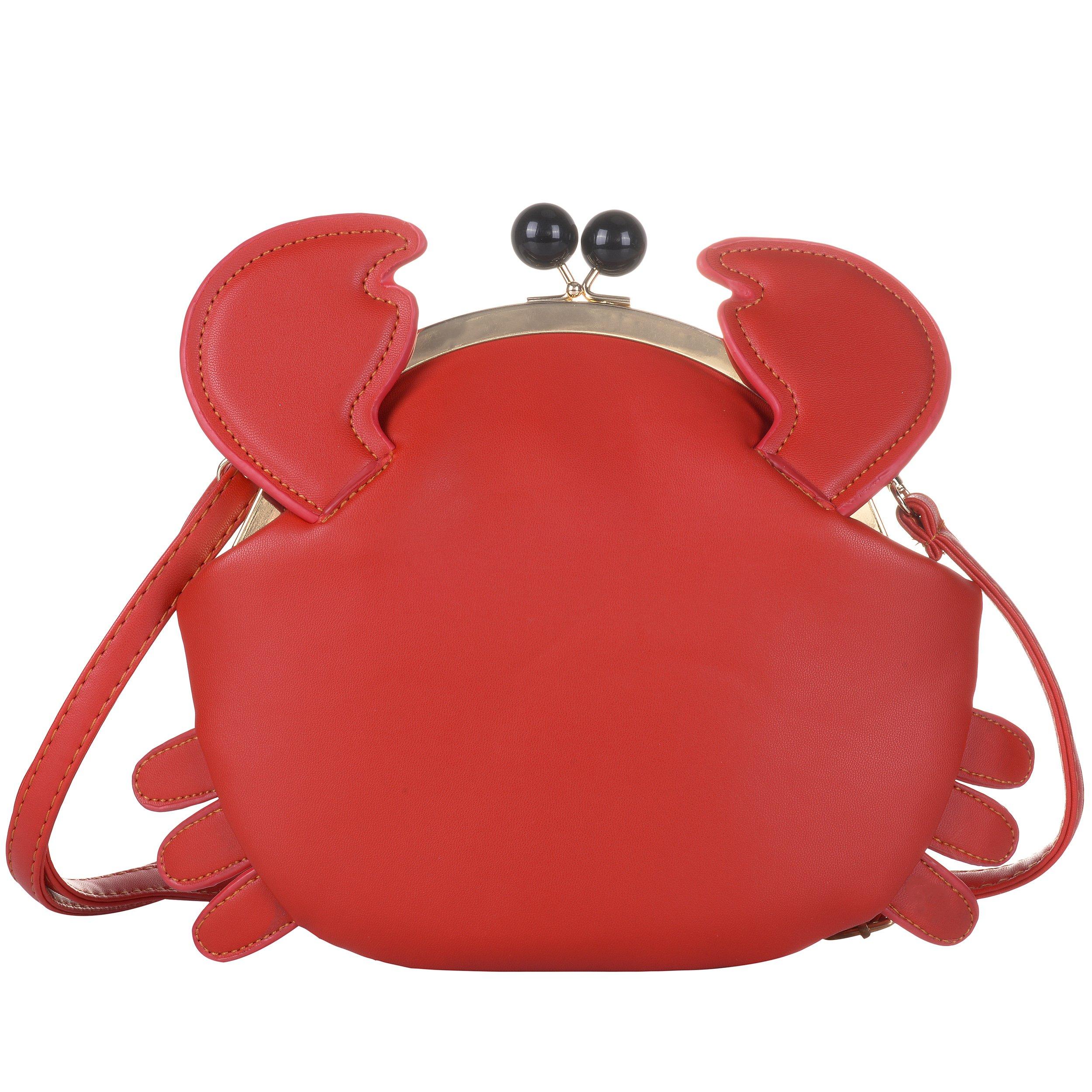 QZUnique Women's PU Crab Clasp Closure Tote Handbag Cute Satchel Cross Body Shoulder Bag Red