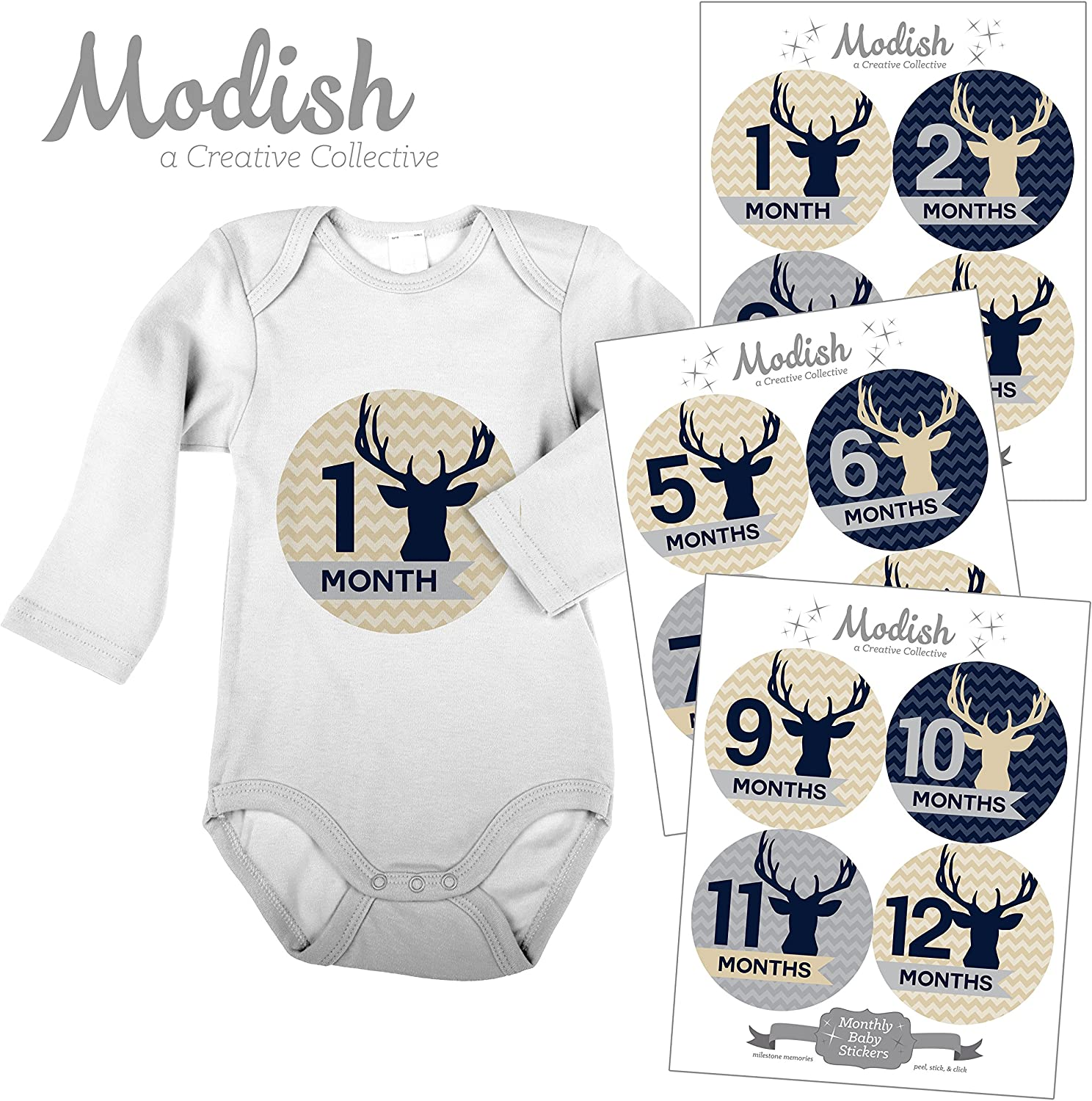 Modish Labels, 12 Monthly Baby Stickers, Baby Boy, Woodland, Deer, Antlers, Buck, Baby Month Stickers, First Year Stickers, Chevron, Tan, Beige, Blue, Navy, Gray, Grey, Baby Book Keepsake, Photo Prop