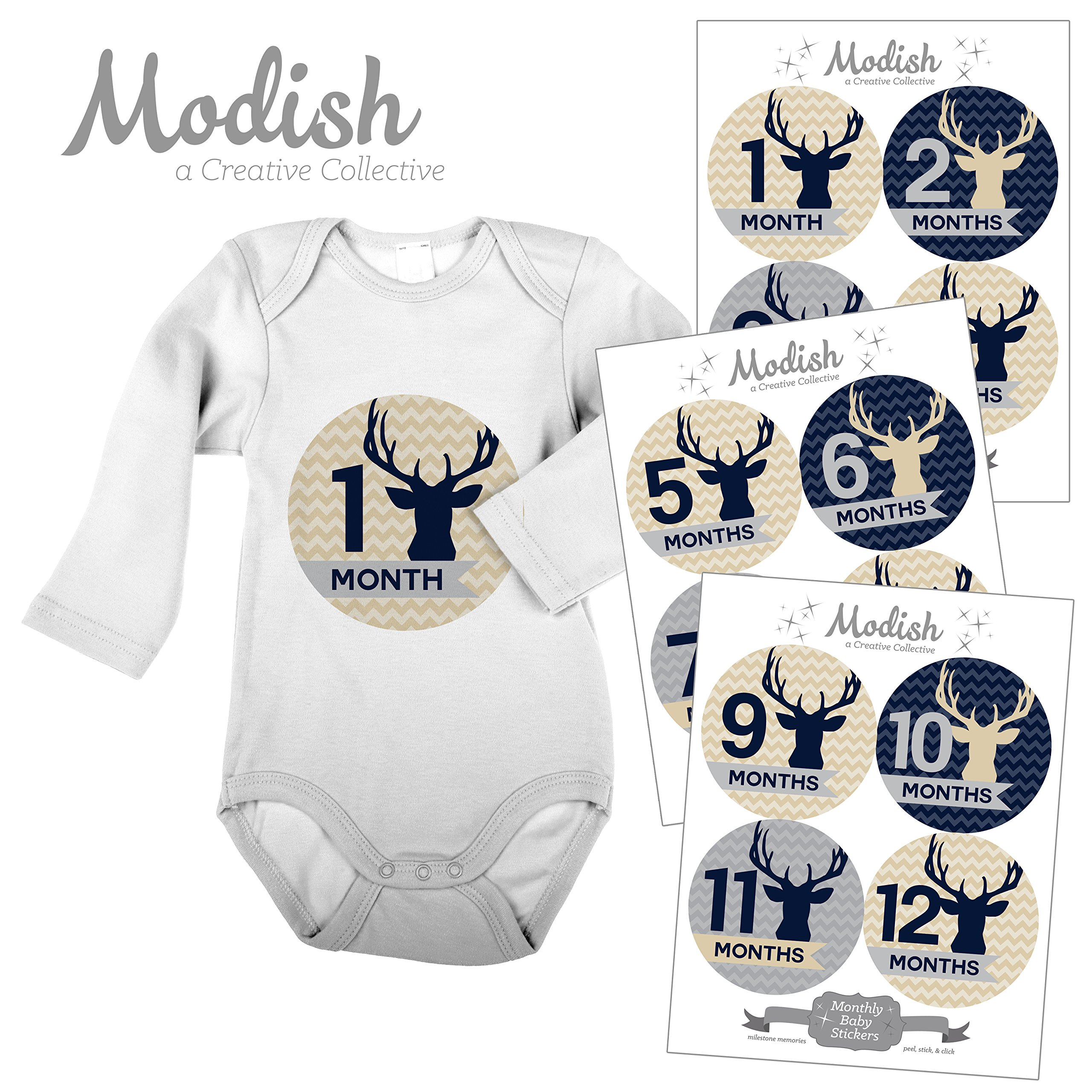 606a32955 Modish Labels, 12 Monthly Baby Stickers, Baby Boy, Woodland, Deer, Antlers