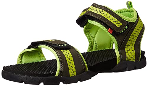 6da481cbe Sparx Men s Olive and Floruscent Green Athletic   Outdoor Sandals - 10  UK India (