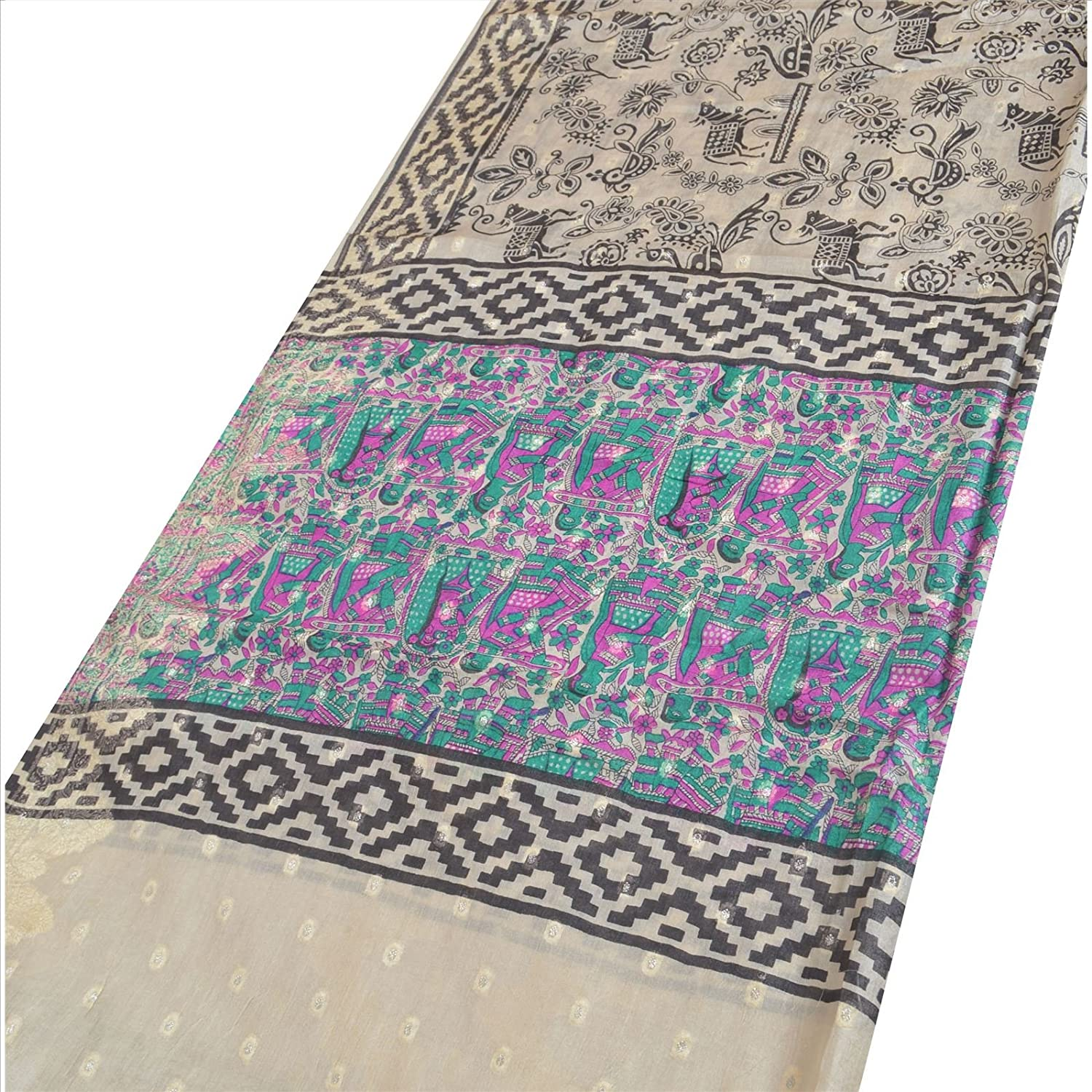 100% Pure Tassar Silk New Long Stole Dupatta Cream Scarves Printed Wrap Veil