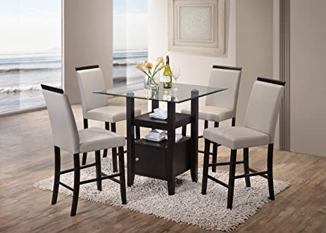 Amazon Kings Brand 5 Piece Counter Height Dining Set Table
