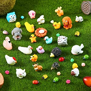 100 Pieces Mini Resin Slime Charms Duck Tiny Animals Figurines Miniature Duck Figurines Tiny Animals Figurines Micro Fairy Garden Landscape Aquarium Dollhouse Ornament for Christmas Accessories