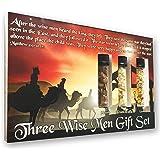 Three Wise Men Biblical Gift Set - Real 24k Gold, Pure Frankincense, & Pure Myrrh in Glass Vials, Biblical Christian Nativity Gift