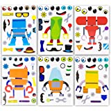 24 Make A Robot Stickers for Kids - Great Robot Theme Birthday Party Favors - Fun Craft Project for Children 3+ - Let…