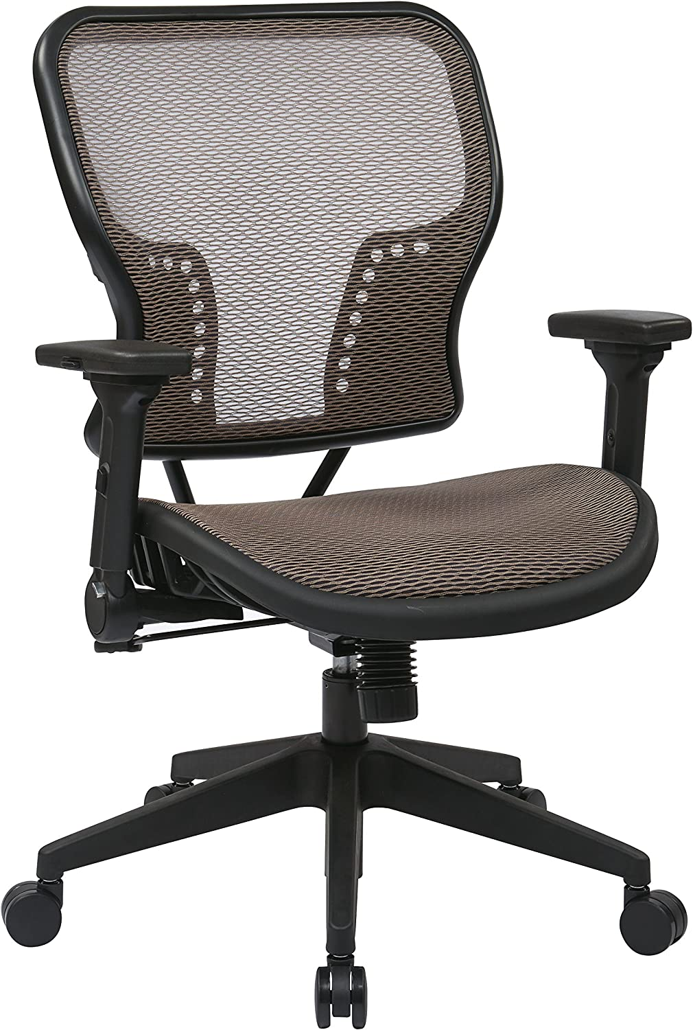 SPACE Seating AirGrid Seat and Back, 2-to-1 Synchro Tilt Control, 4-Way Adjustable Padded Flip Arms, and Nylon Base Managers Chair, Latte