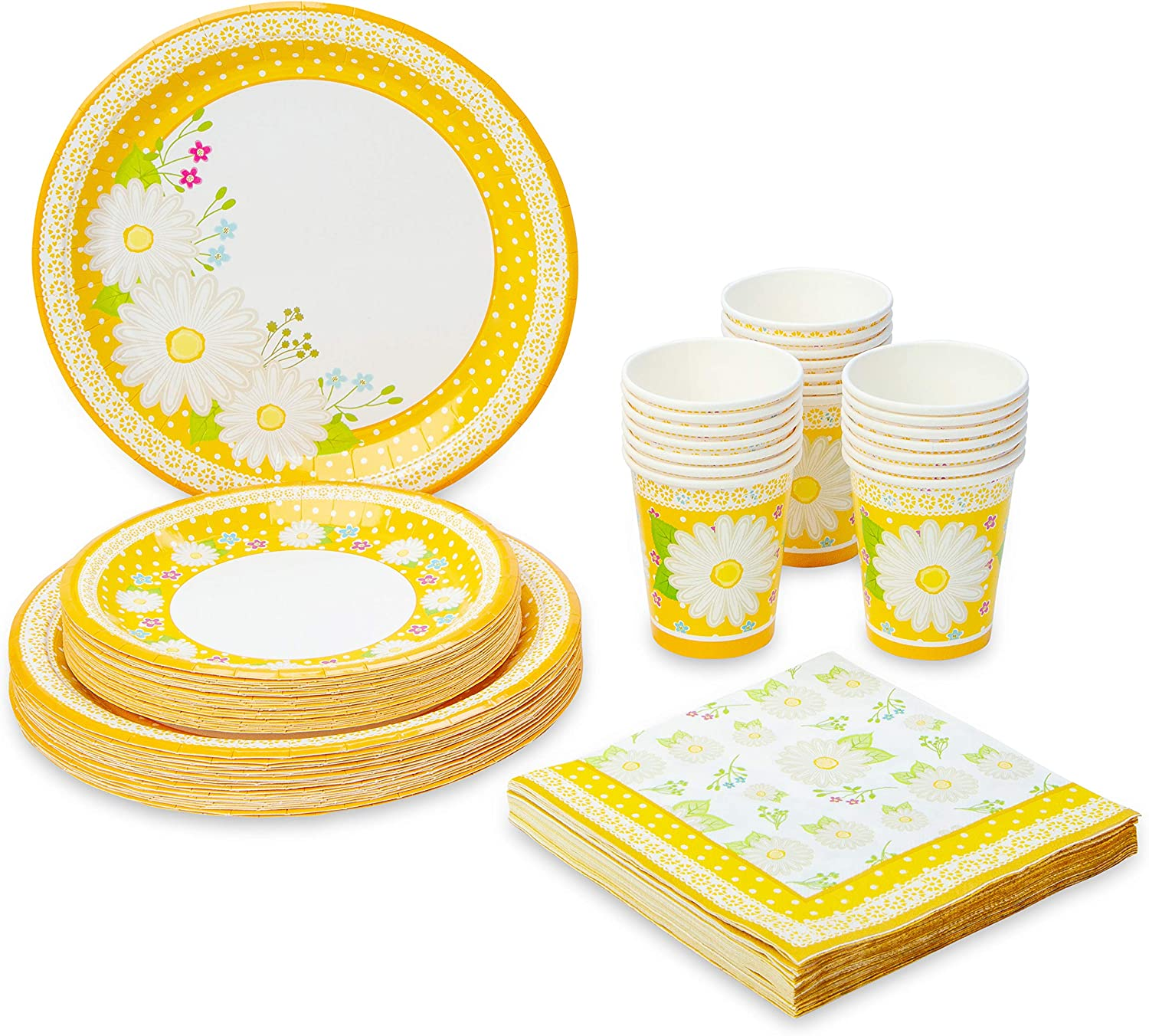 Royal Magnolia Floral Party Supplies -Set of 24- Daisy Paper Plates (7 and 9 Inch), Paper Napkins and Party Cups - Disposable Flower Theme Dinnerware Set for Birthday, Baby Shower, Bachelorette Party