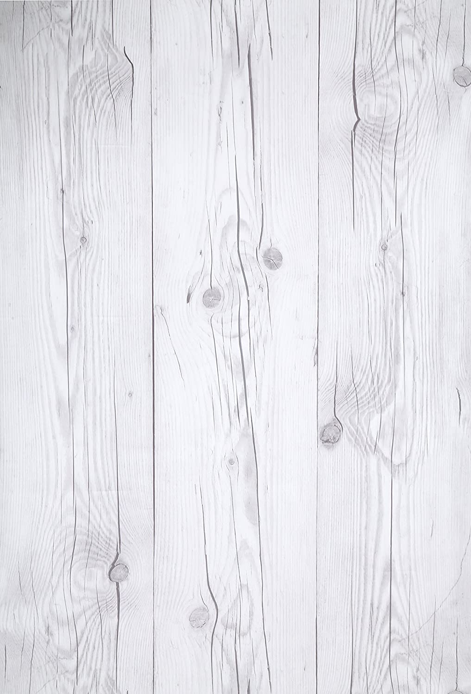 (Blanco Vintage, Paquete de 1) Papel tapiz de mural autoadhesivo con veta de madera reciclada y rústica 50cm X 3M (19,6
