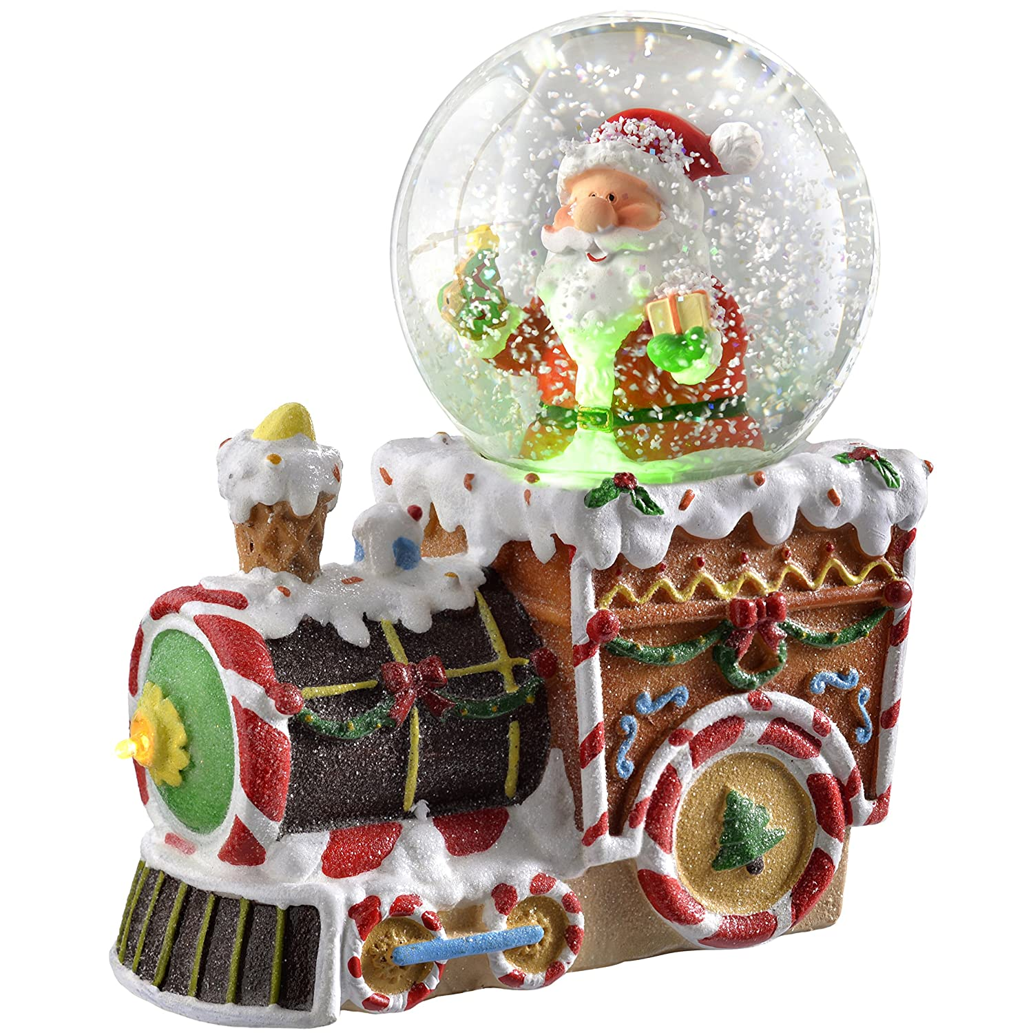 WeRChristmas Santa on Train Colour Changing Snow Globe, 16 cm - Multi-Colour WRC-7299