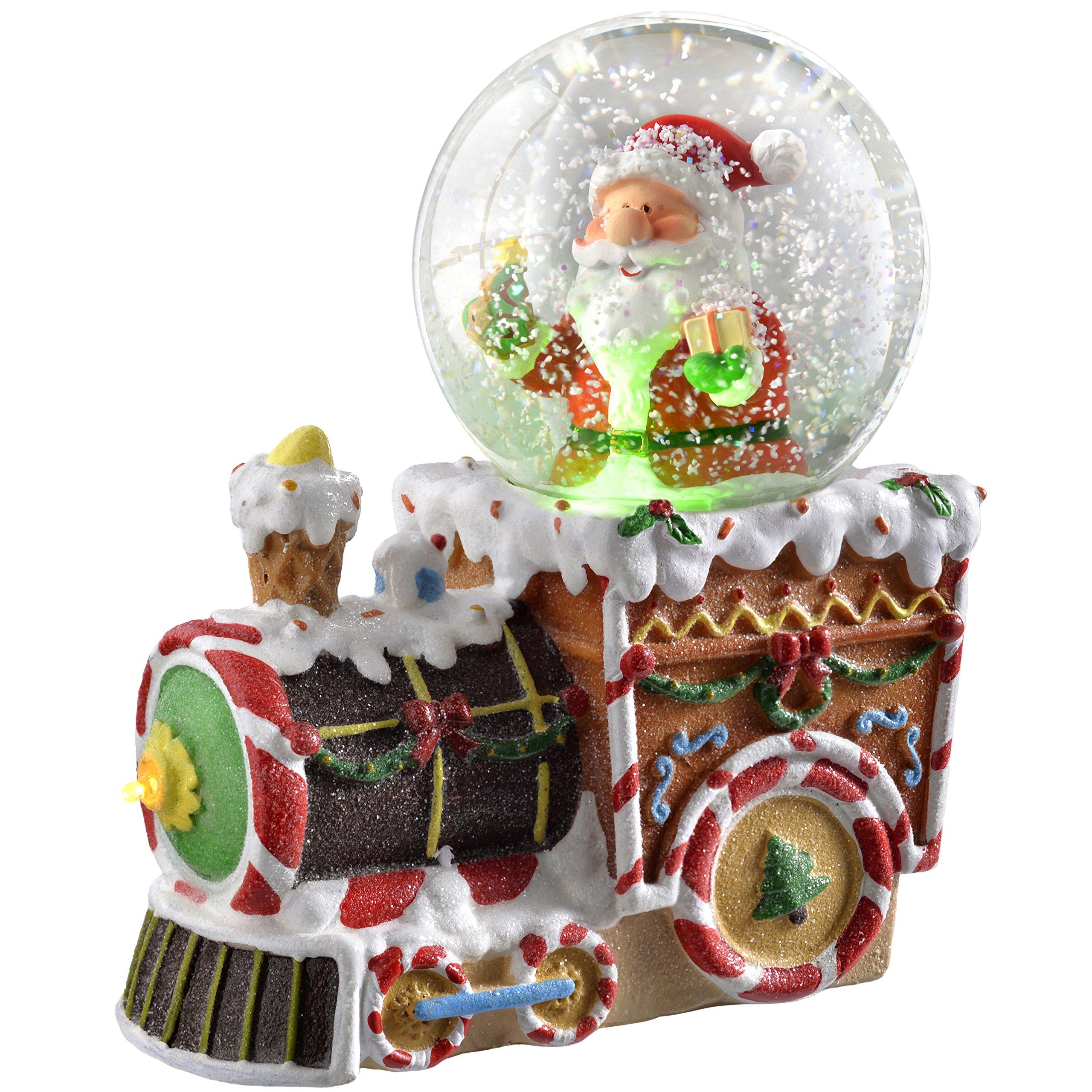 WeRChristmas Santa On Train Colour Changing Snow Globe, 16 Cm - Multi-Colour